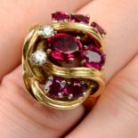 A 1970s 9ct gold ruby and diamond dress ring.
