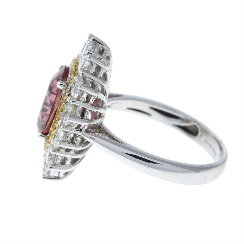 An 18ct gold orange sapphire, 'yellow' diamond and brilliant-cut diamond ring. - Image 3 of 5