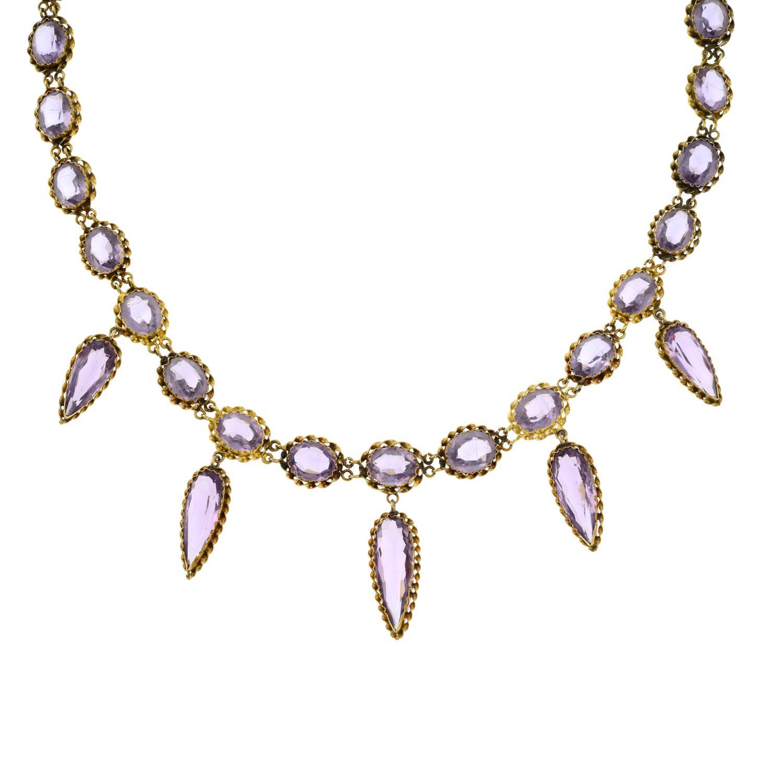 A 19th century gold purple paste fringe necklace. - Image 2 of 6