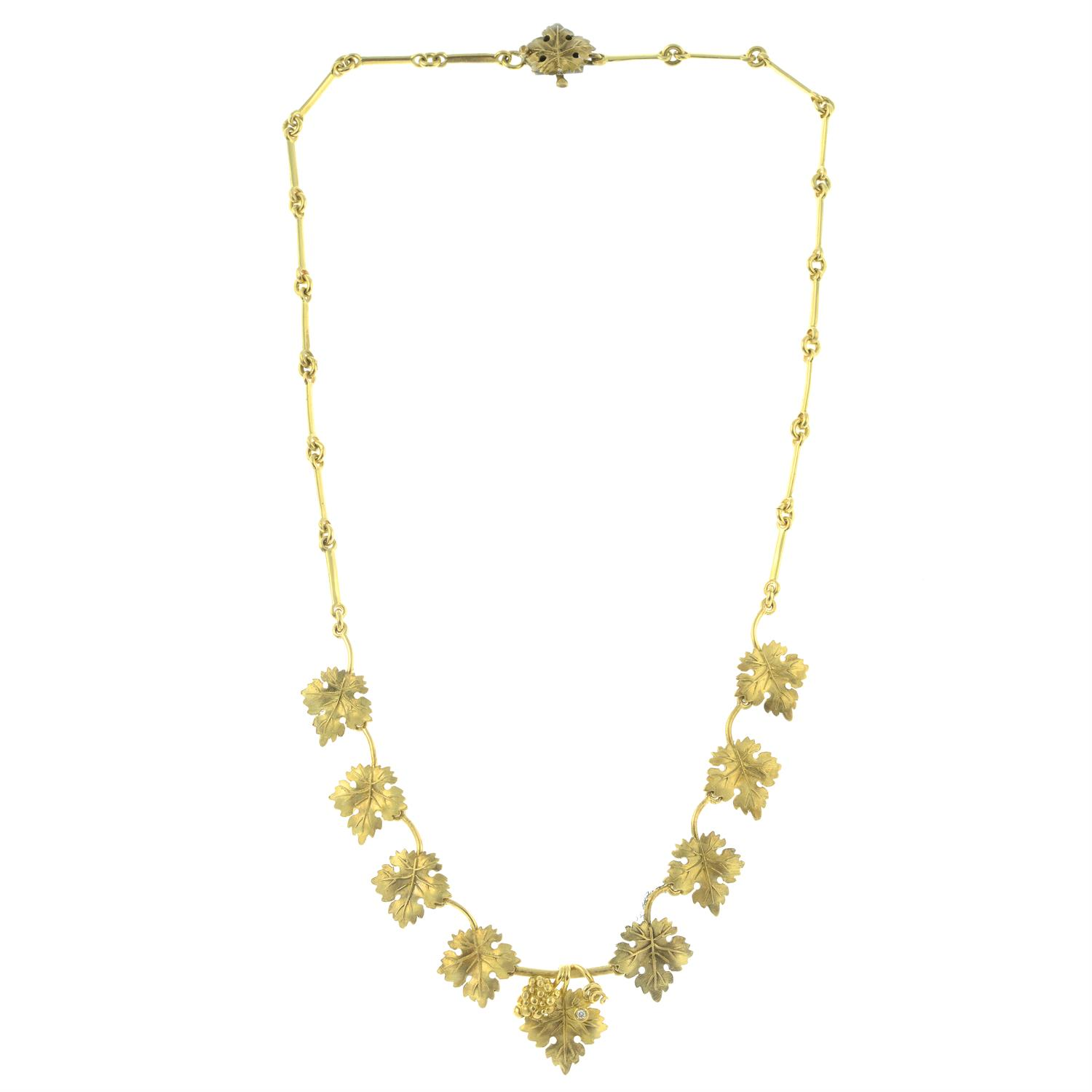 A diamond accent grape and vine leaf necklace, by M. Buccellati. - Image 3 of 6