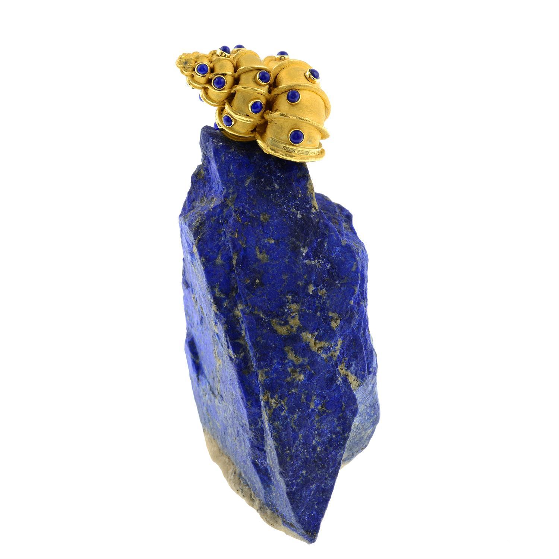 An 18ct gold lapis lazuli 'Supershells' objet d'art, of a snail atop an outcrop, by Grima. - Image 4 of 10
