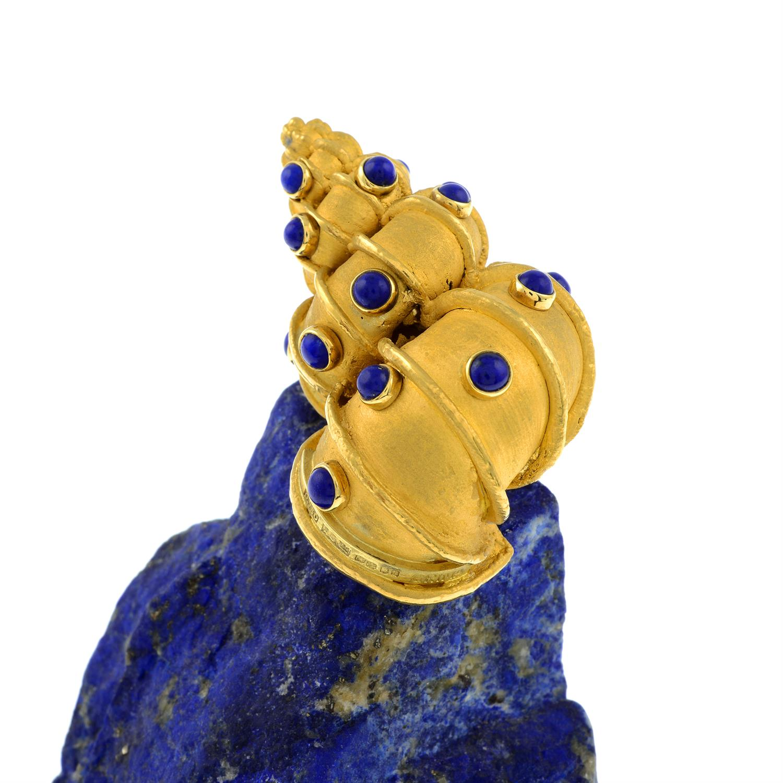 An 18ct gold lapis lazuli 'Supershells' objet d'art, of a snail atop an outcrop, by Grima. - Image 3 of 10