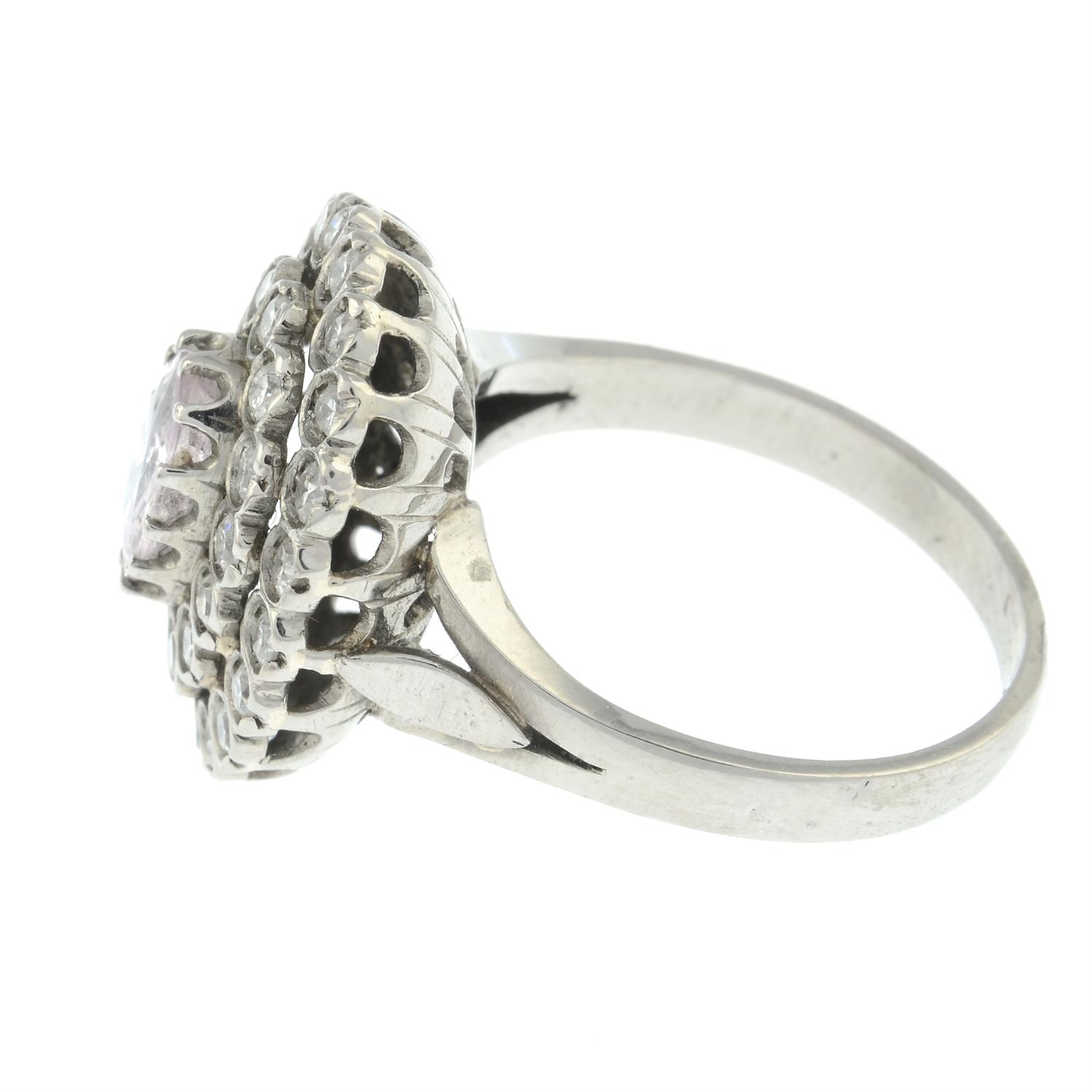 A pink sapphire and brilliant-cut diamond stepped cluster ring. - Image 3 of 6