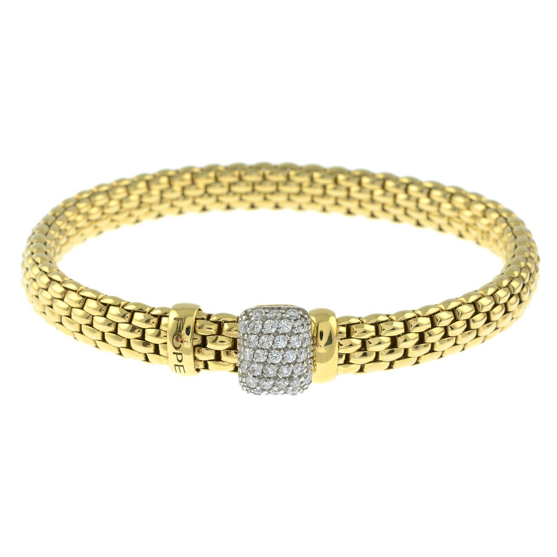An 18ct gold 'Flexit' bracelet, by Fope, with pavé-set diamond slide. - Image 2 of 3