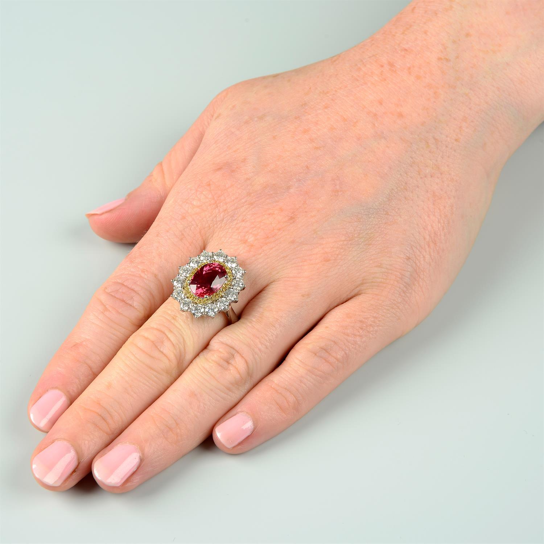 An 18ct gold orange sapphire, 'yellow' diamond and brilliant-cut diamond ring. - Image 5 of 5