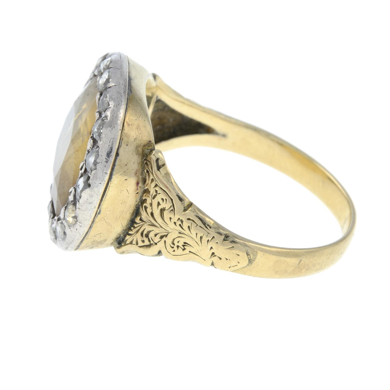 A late Georgian silver and gold, foil back golden topaz and rose-cut diamond ring. - Image 3 of 6