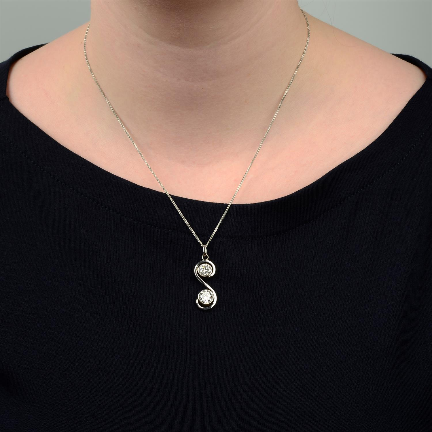 A brilliant-cut diamond two-stone pendant, with 18ct gold chain. - Image 5 of 5