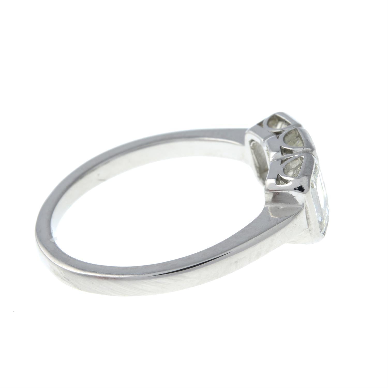 A rectangular-shape diamond three-stone ring. - Image 4 of 6