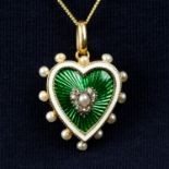 An early 20th century gold enamel, seed pearl and rose-cut diamond heart pendant.