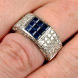A calibré-cut sapphire and pavé-set diamond band ring.
