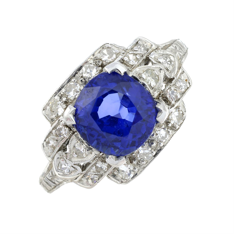 A sapphire and single-cut diamond dress ring. - Image 2 of 6