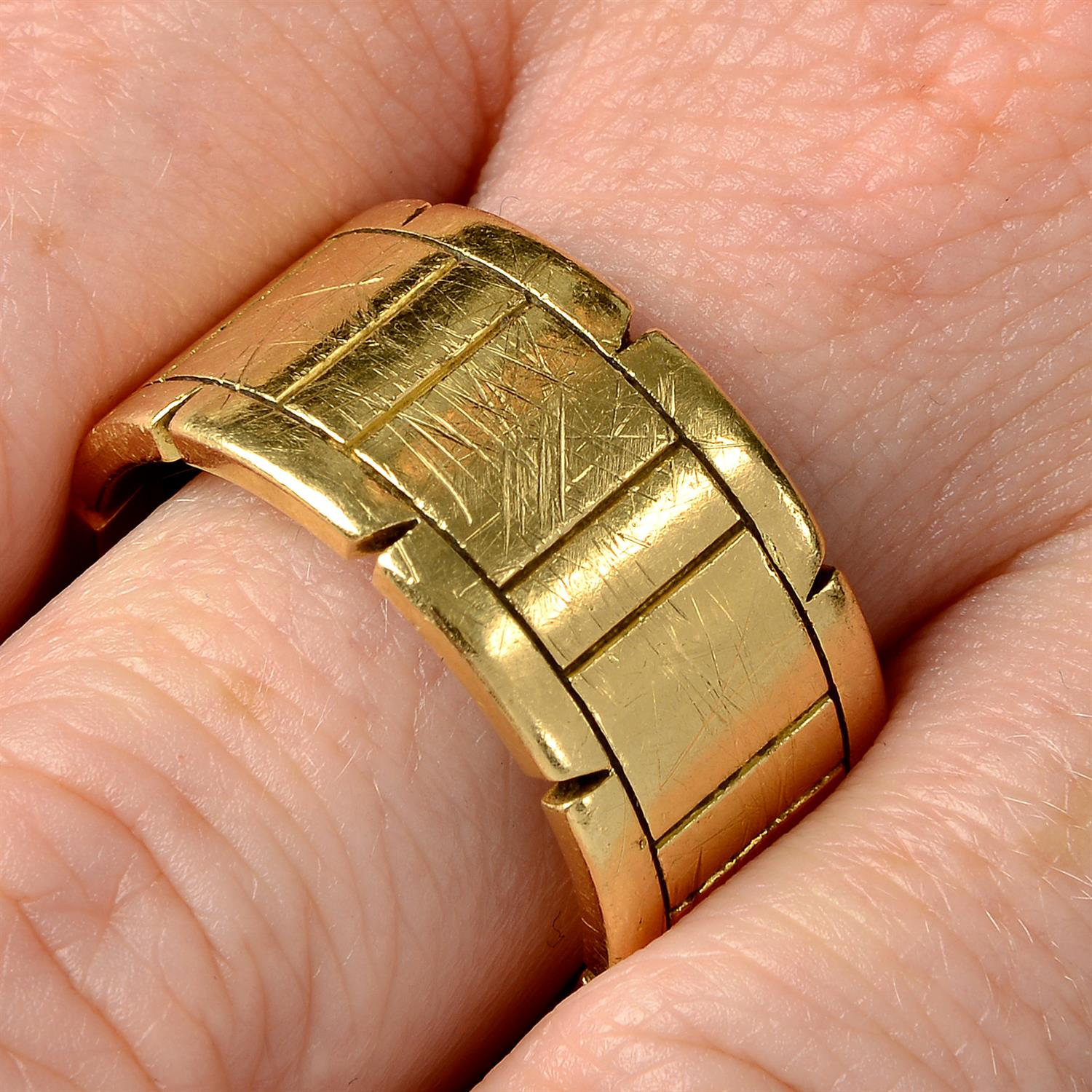 An 18ct gold 'Tank Francaise' ring, by Cartier.