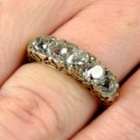 An early 20th century gold graduated old-cut diamond five-stone ring, with diamond point double