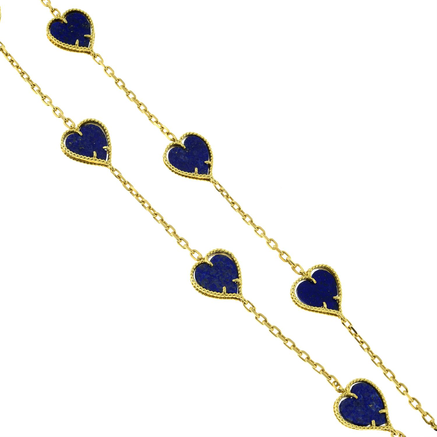 A mid 20th century 18ct gold lapis lazuli heart necklace. - Image 4 of 6