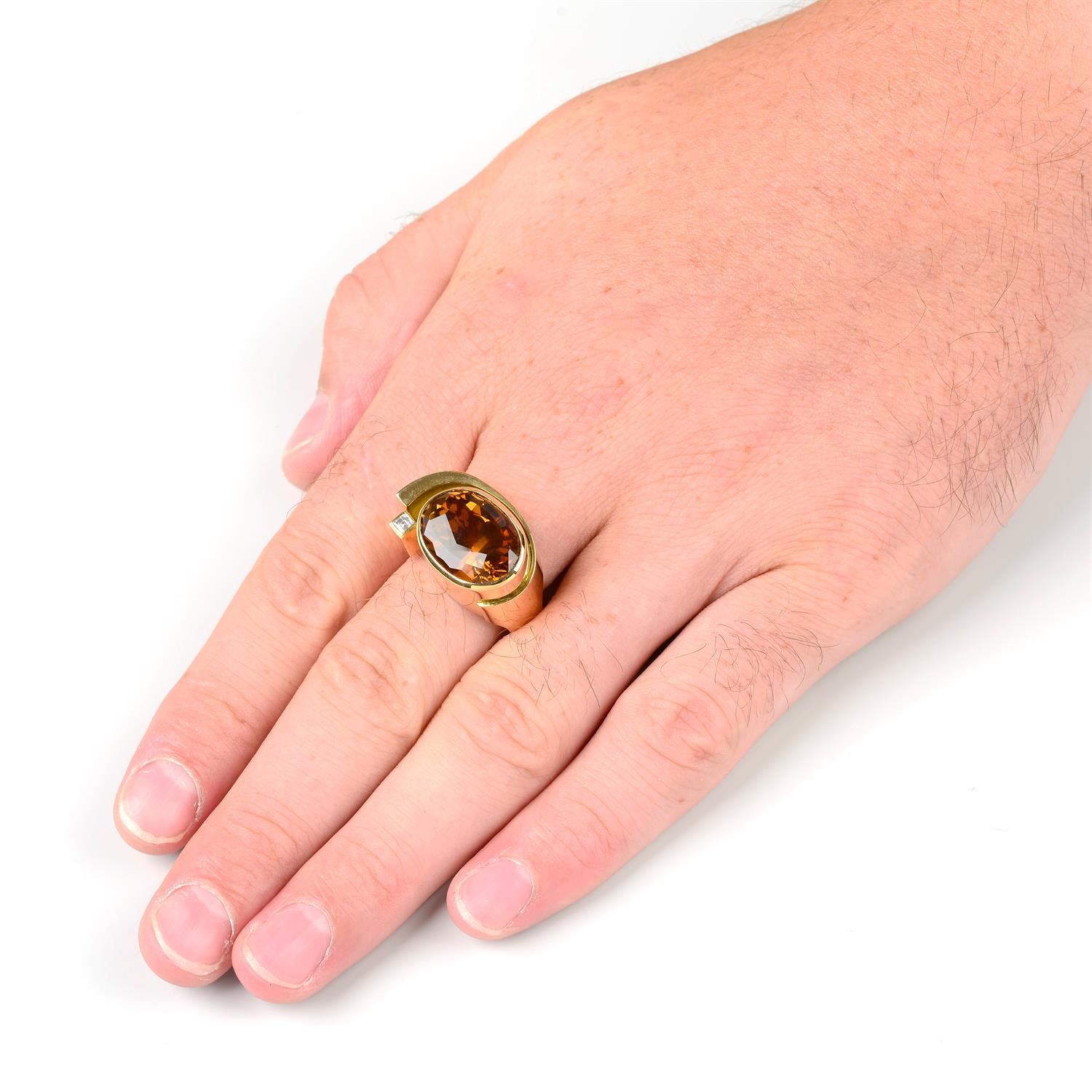 An 18ct gold citrine and square-shape diamond dress ring, by Erwin Springbrunn. - Image 6 of 6