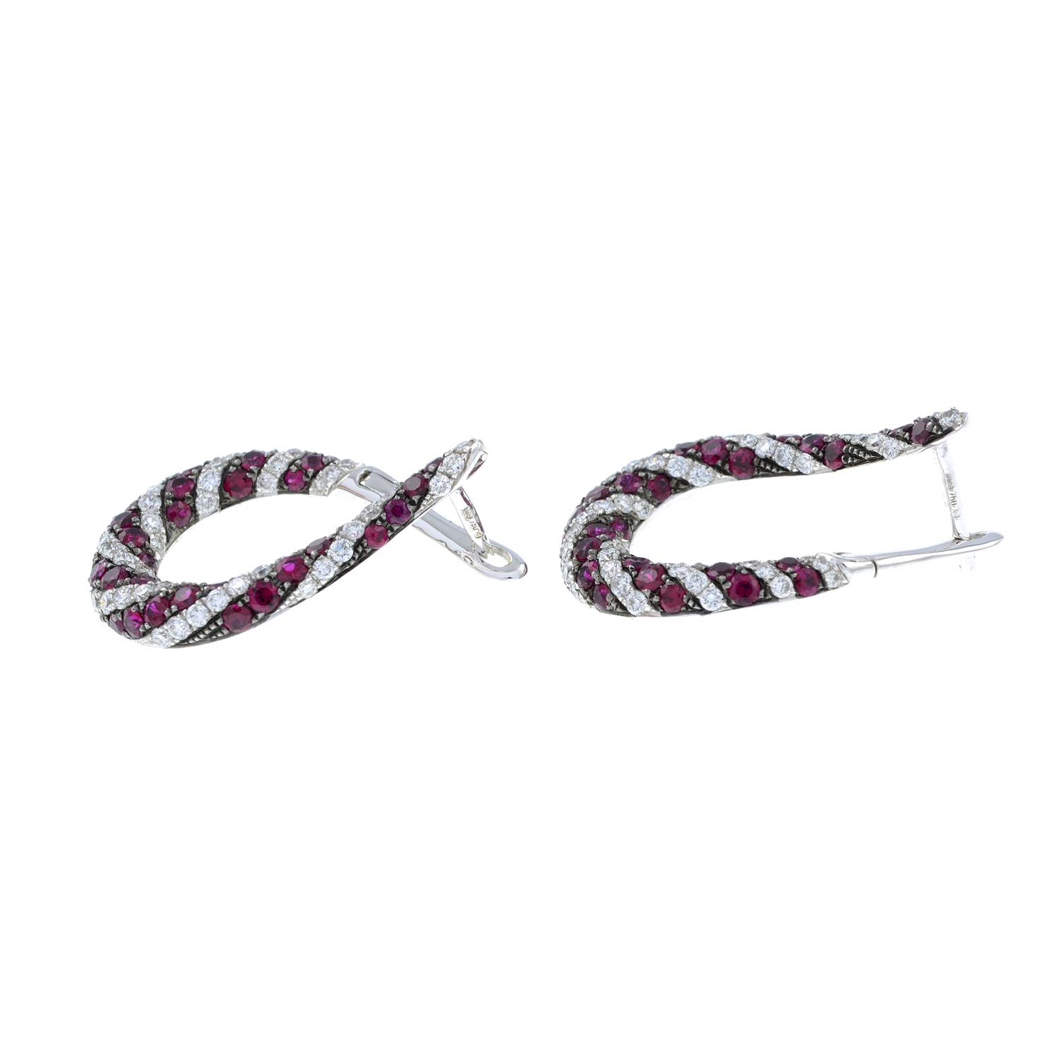 A pair of 18ct gold brilliant-cut diamond and ruby spiral hoop earrings. - Image 4 of 4
