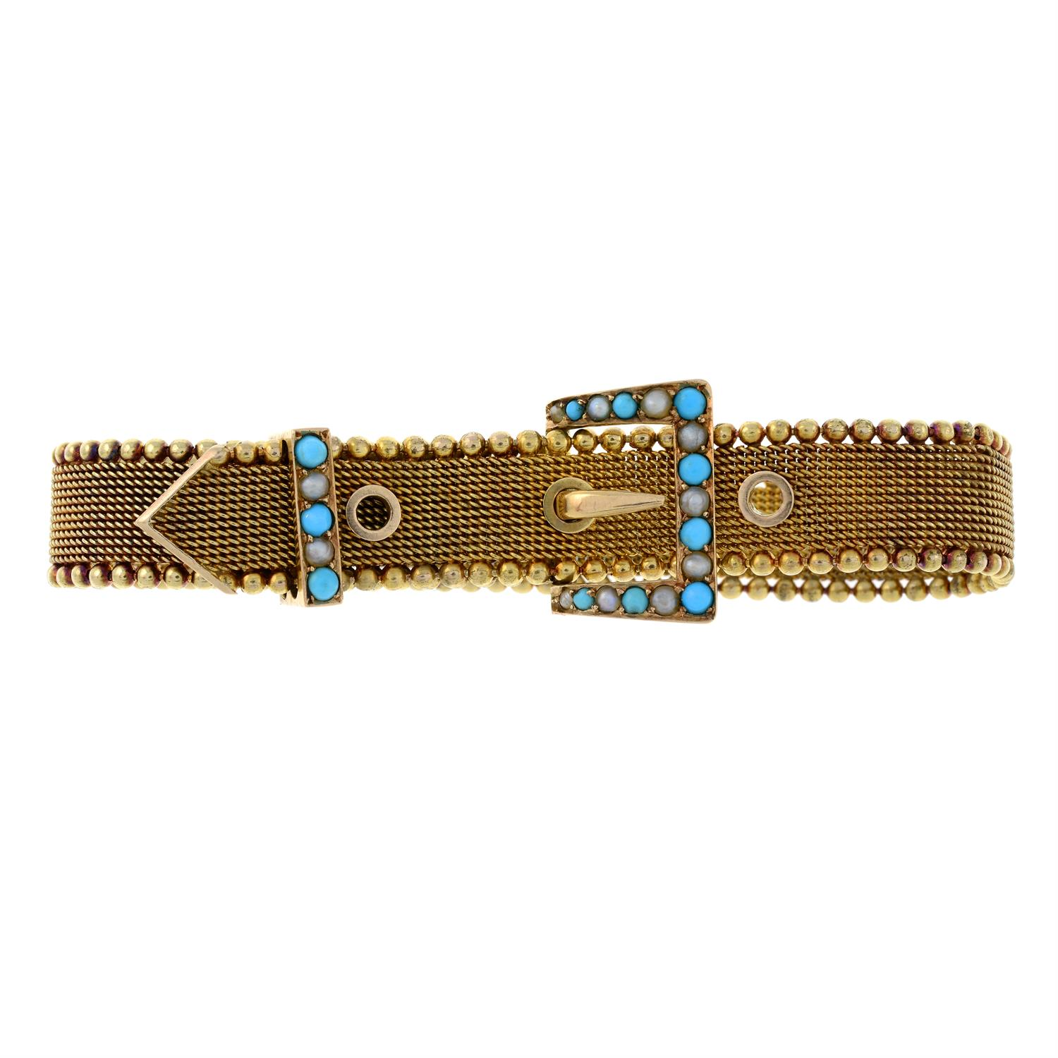 A late Victorian 15ct gold split pearl and turquoise buckle bracelet. - Image 2 of 6