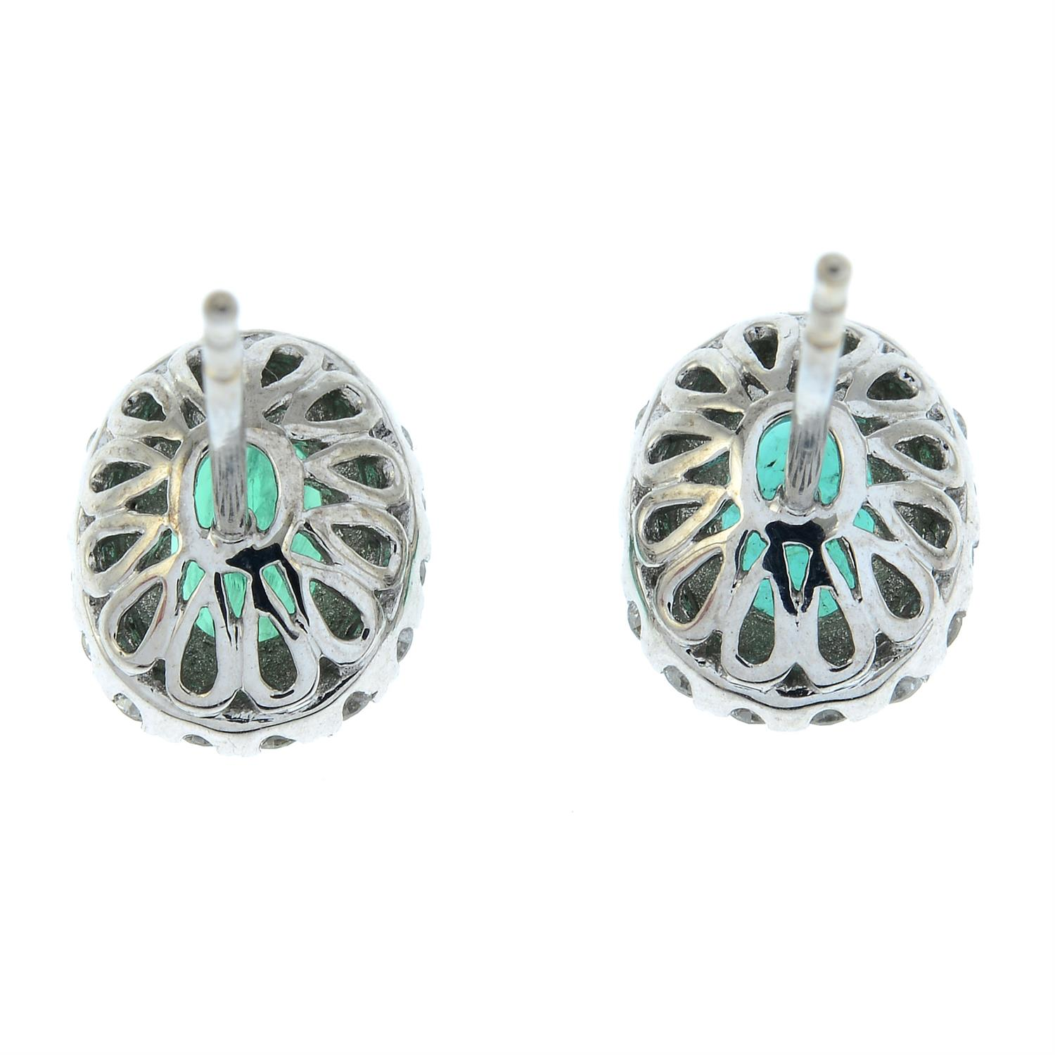 A pair of emerald and diamond cluster earrings. - Image 3 of 4