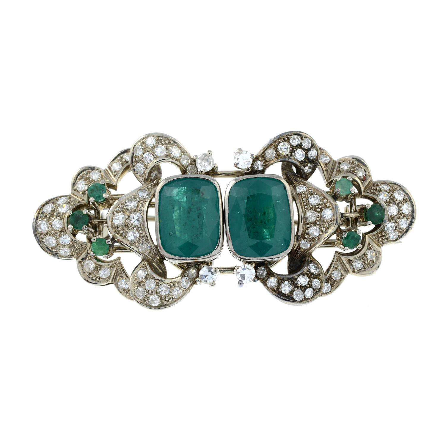 A mid 20th century 18ct gold emerald and diamond double clip brooch. - Image 2 of 6