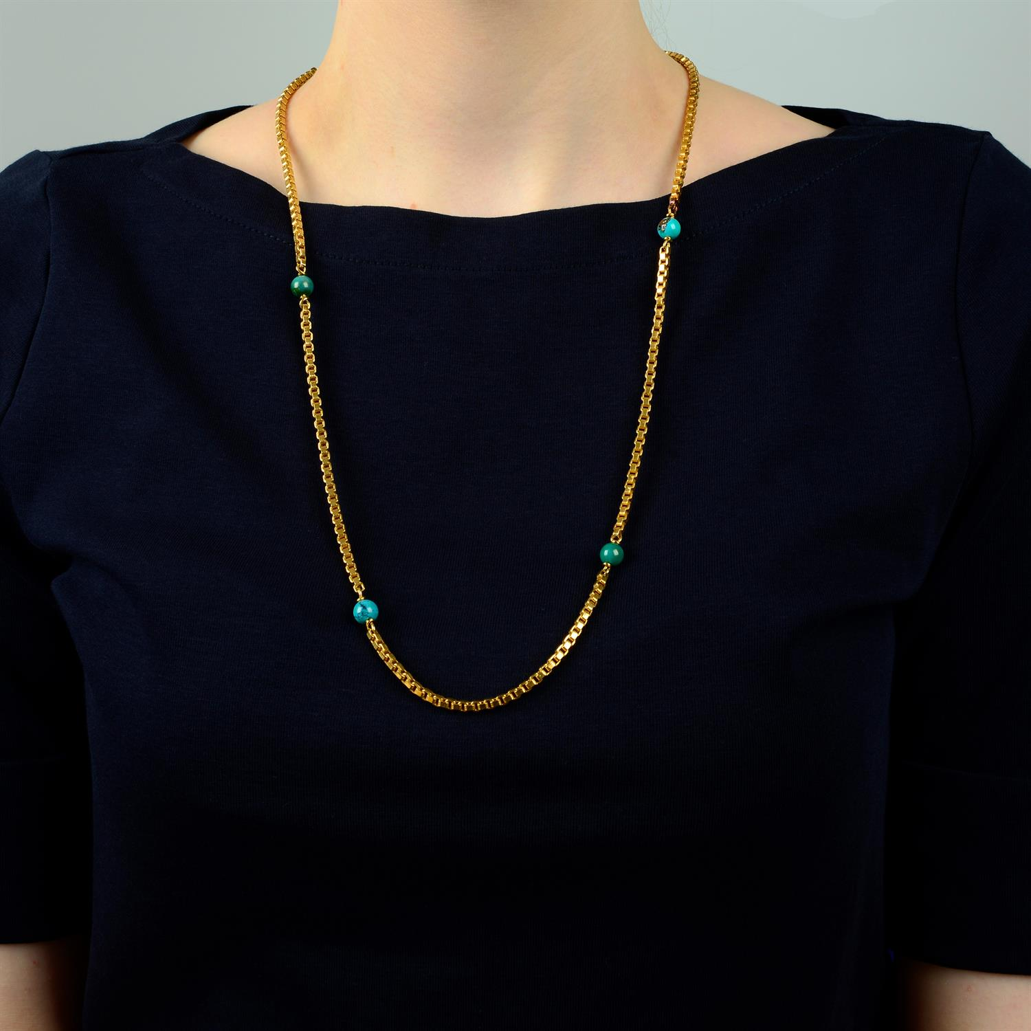 A mid 20th century Italian 18ct gold necklace, with turquoise matrix bead spacers, by Orf. - Image 5 of 5