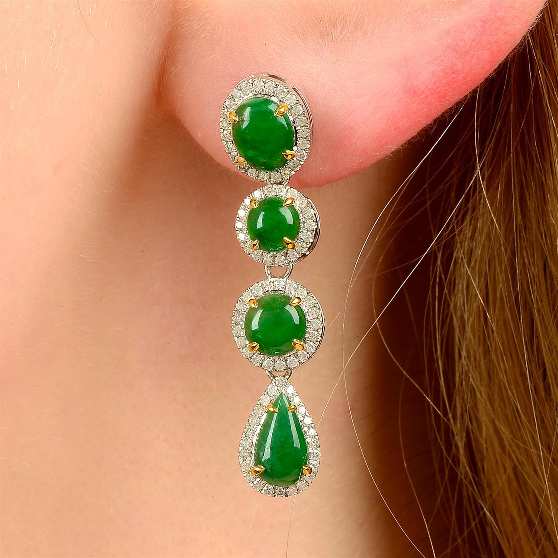 A pair of jade and diamond cluster drop earrings.