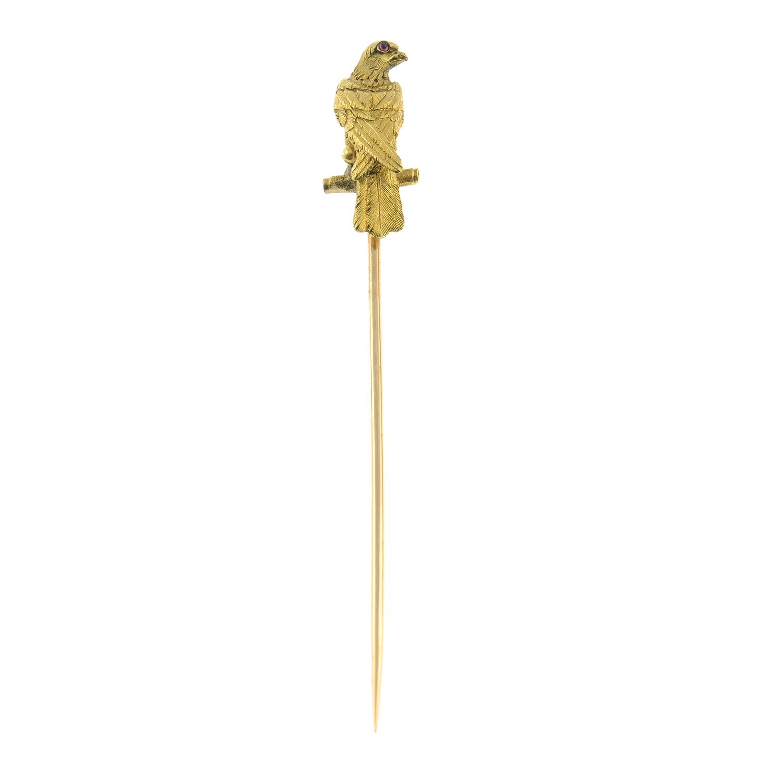 A late Victorian 18ct gold falcon stickpin, with ruby eyes. - Image 3 of 5