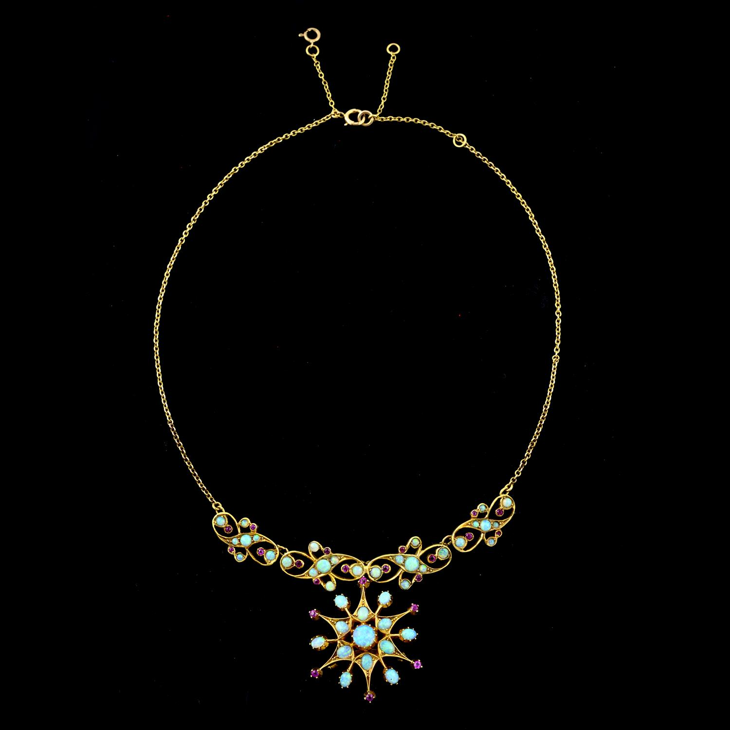An early 20th century 15ct gold opal and ruby necklace. - Image 3 of 5