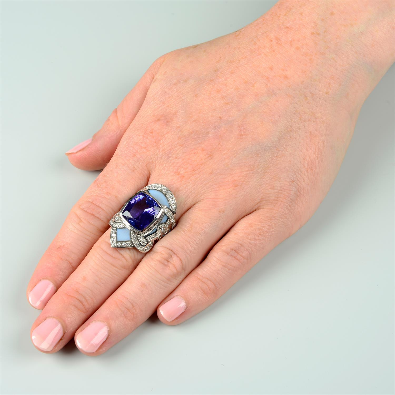 A tanzanite, brilliant-cut diamond and enamel ring. - Image 6 of 6