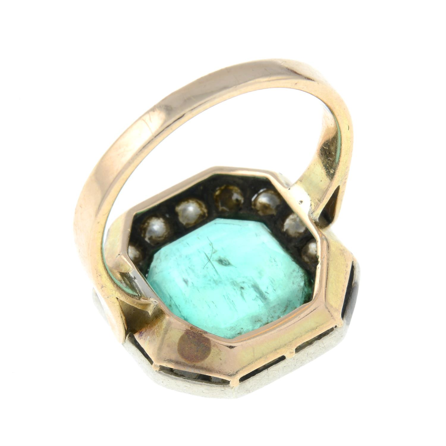 A mid 20th century silver and gold, emerald and brilliant-cut diamond ring. - Image 5 of 6