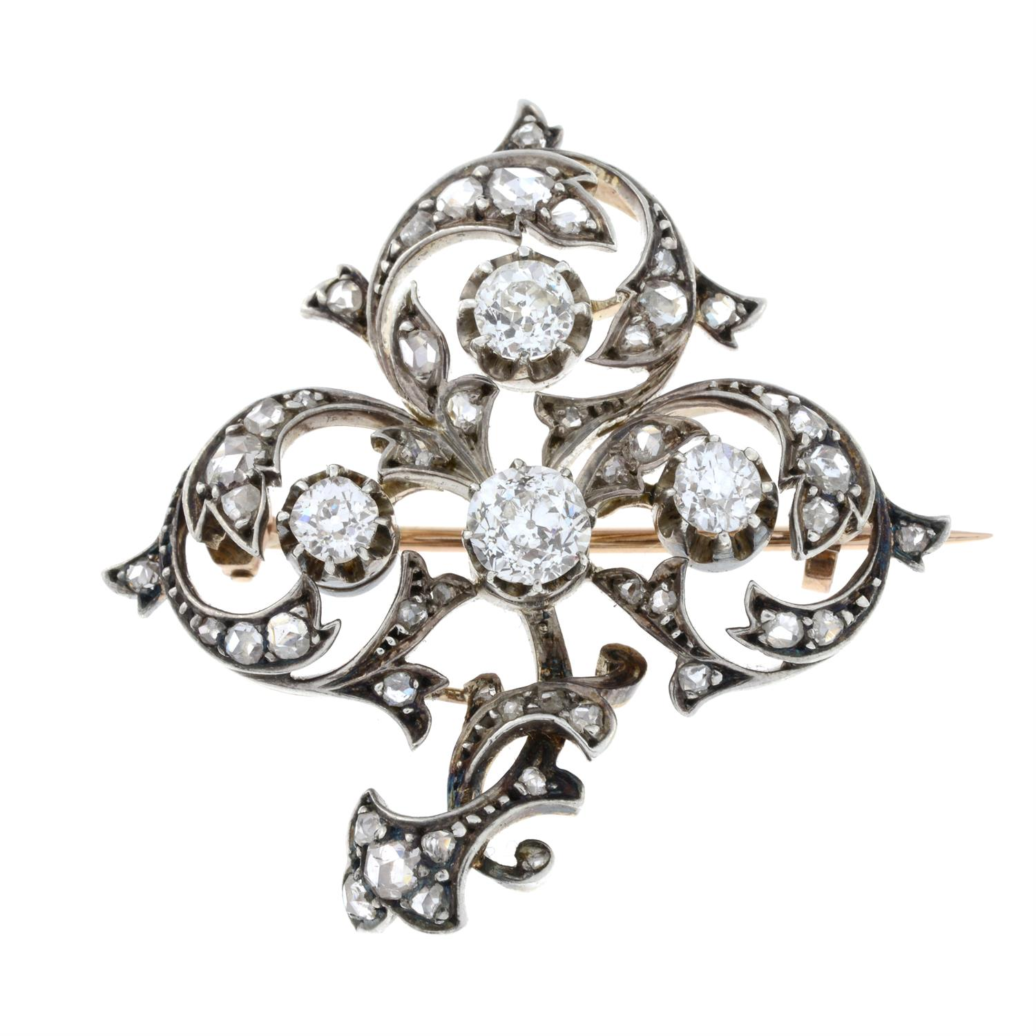 A late 19th century silver and gold, old and rose-cut diamond brooch. - Image 2 of 5