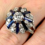 A mid 20th century 18ct gold brilliant-cut diamond and rectangular-shape sapphire cocktail ring,