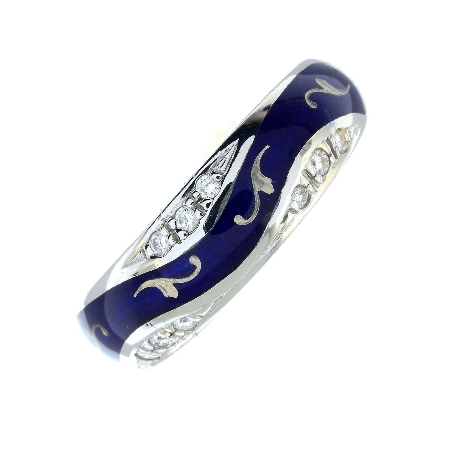 A limited edition 18ct gold diamond and blue enamel ring, by Fabergé. - Image 2 of 6