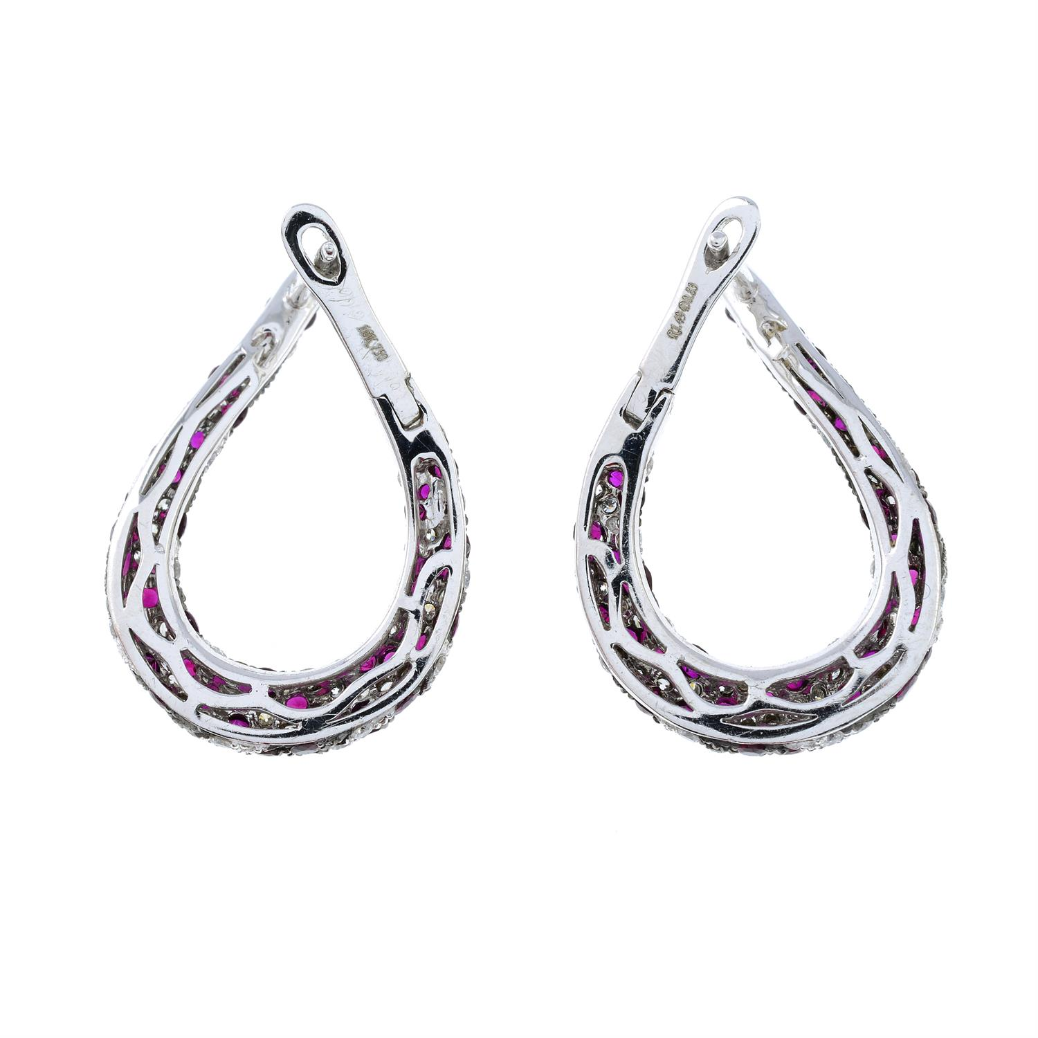 A pair of 18ct gold brilliant-cut diamond and ruby spiral hoop earrings. - Image 3 of 4