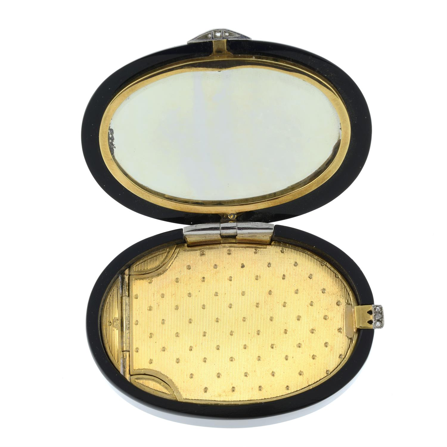 An Art Deco platinum and 18ct gold, rose-cut diamond and onyx box, with mirror to interior. - Image 4 of 5