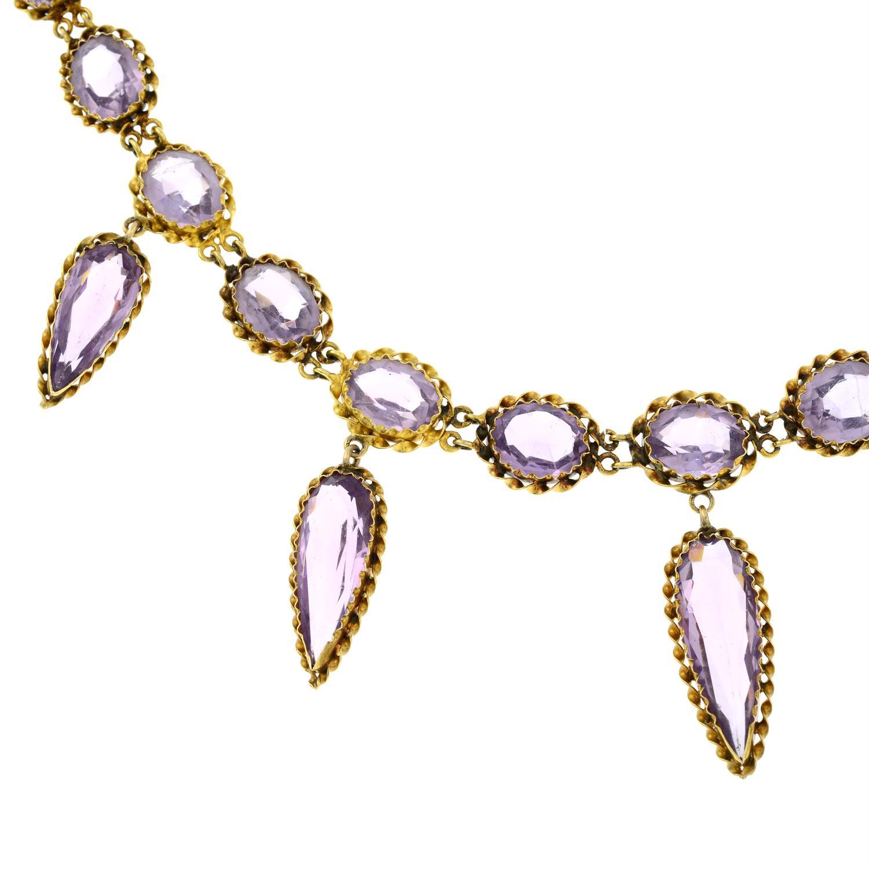 A 19th century gold purple paste fringe necklace. - Image 4 of 6