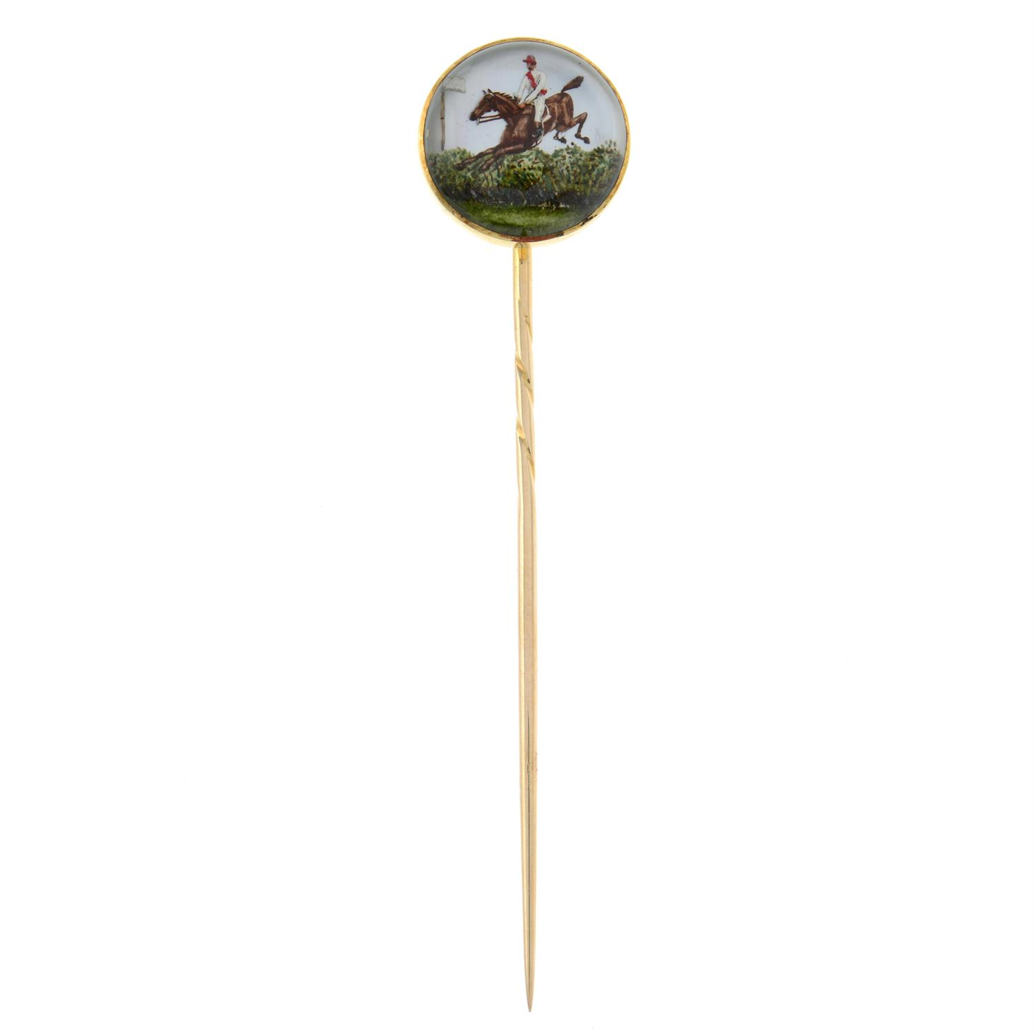 A late Victorian gold, reverse-carved and painted stickpin, depicting 1883 Grand National winner - Image 2 of 5