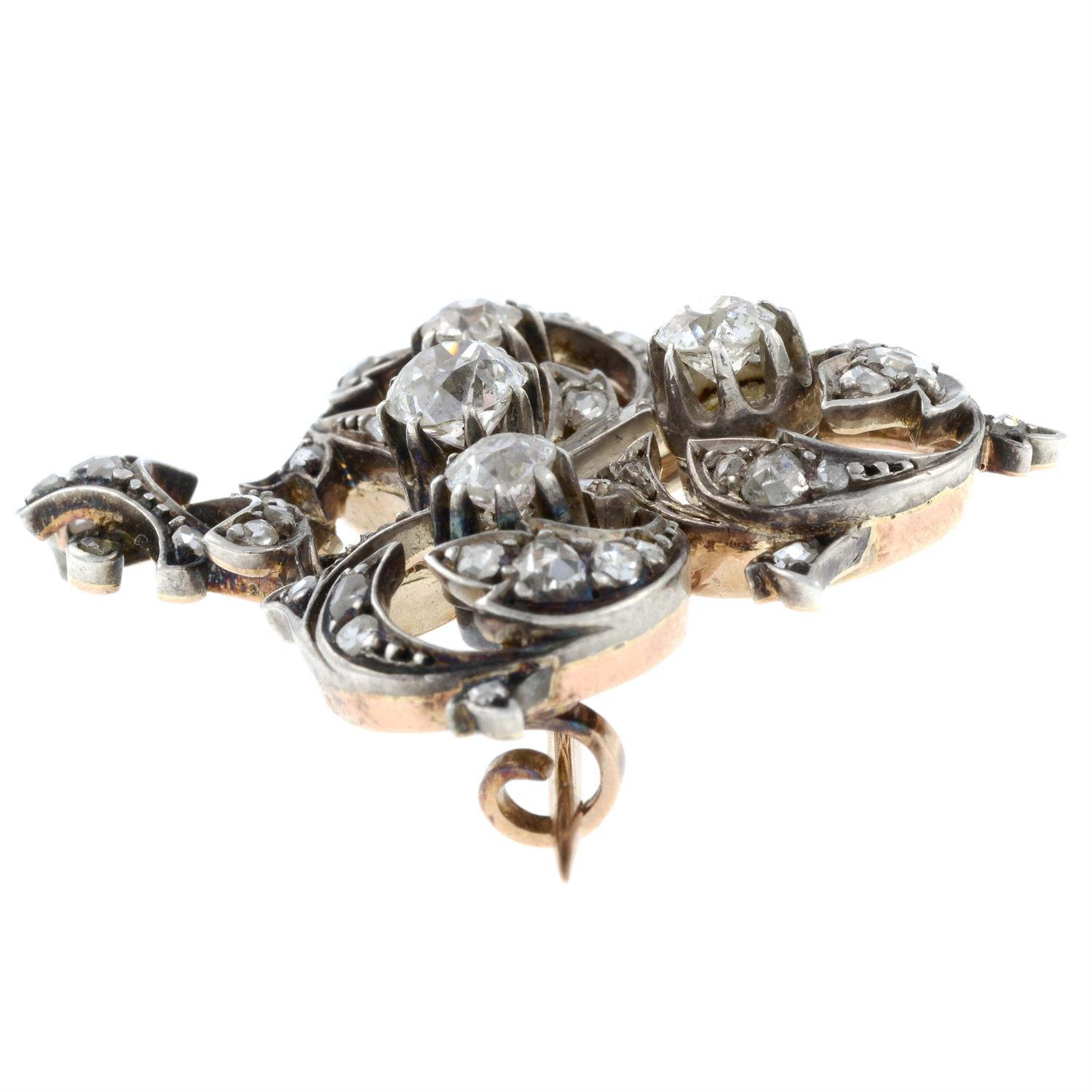 A late 19th century silver and gold, old and rose-cut diamond brooch. - Image 4 of 5