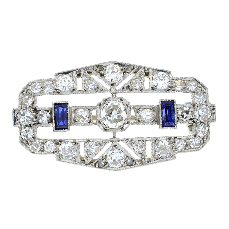 An Art Deco platinum and 18ct gold, circular-cut diamond and rectangular-shape sapphire geometric - Image 2 of 5