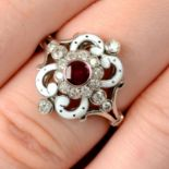 An 18ct gold, ruby, diamond and enamel dress ring, by E. Wolfe & Co.
