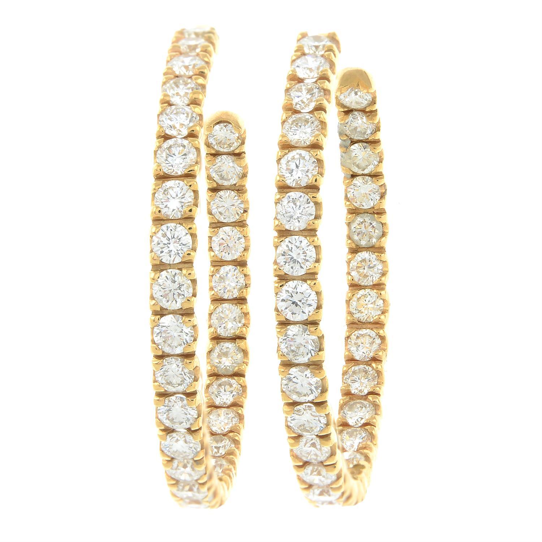 A pair of brilliant-cut diamond hoop earrings. - Image 2 of 3