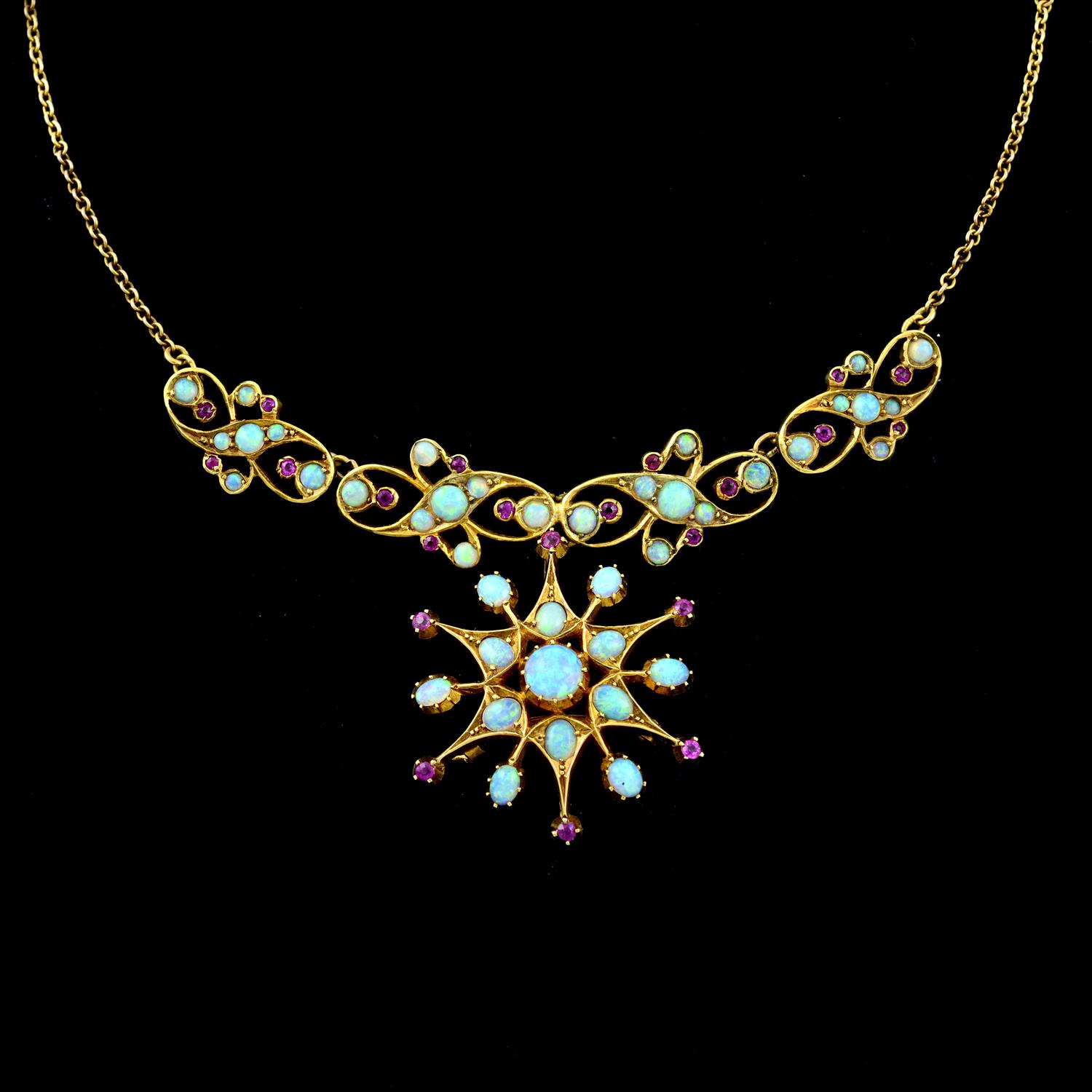 An early 20th century 15ct gold opal and ruby necklace. - Image 2 of 5
