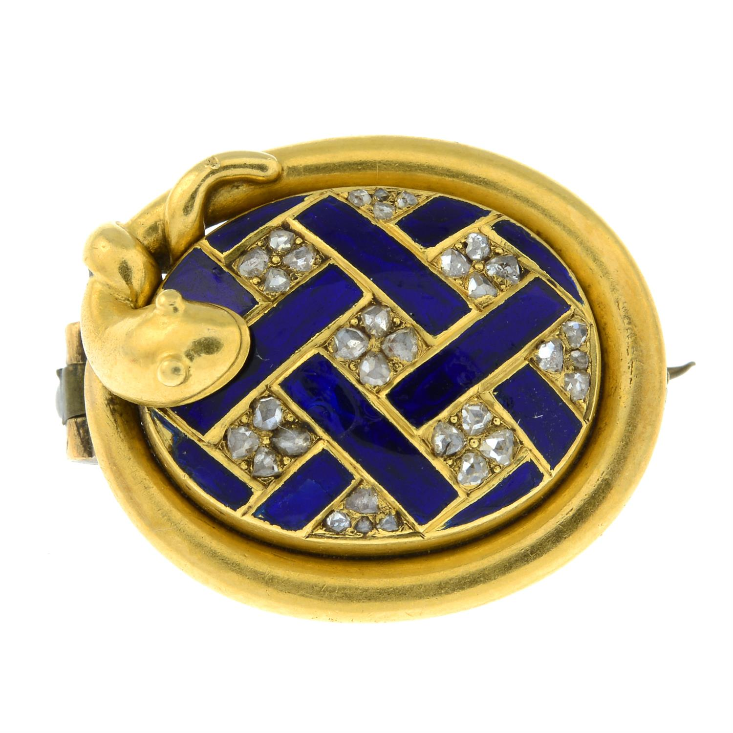 A 19th century gold rose-cut diamond and blue enamel lattice brooch, with snake surround and locket - Image 2 of 5