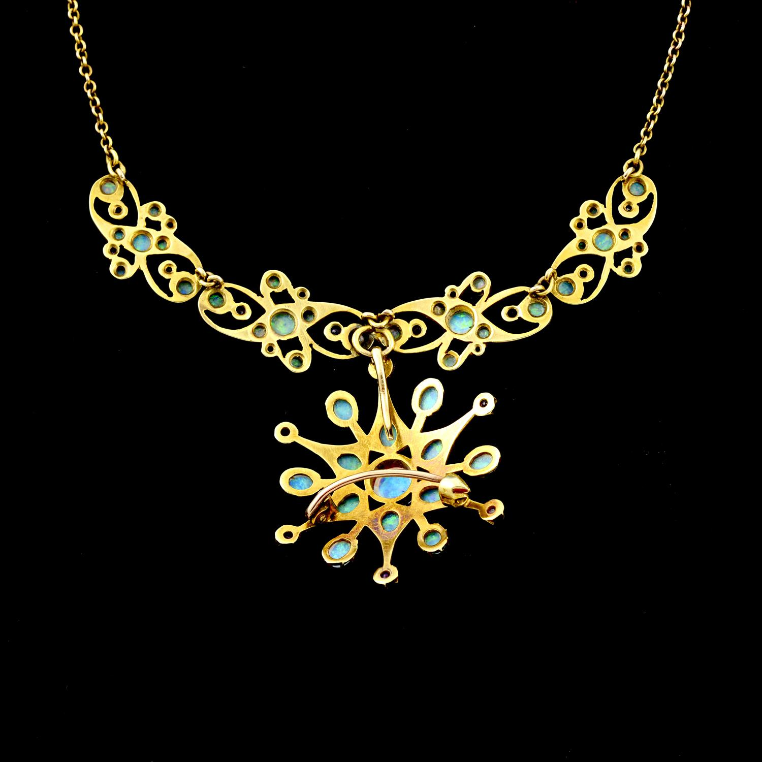 An early 20th century 15ct gold opal and ruby necklace. - Image 4 of 5