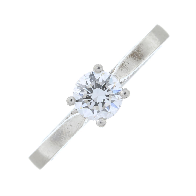 A platinum brilliant-cut diamond single-stone ring, with brilliant-cut diamond gallery. - Image 2 of 8