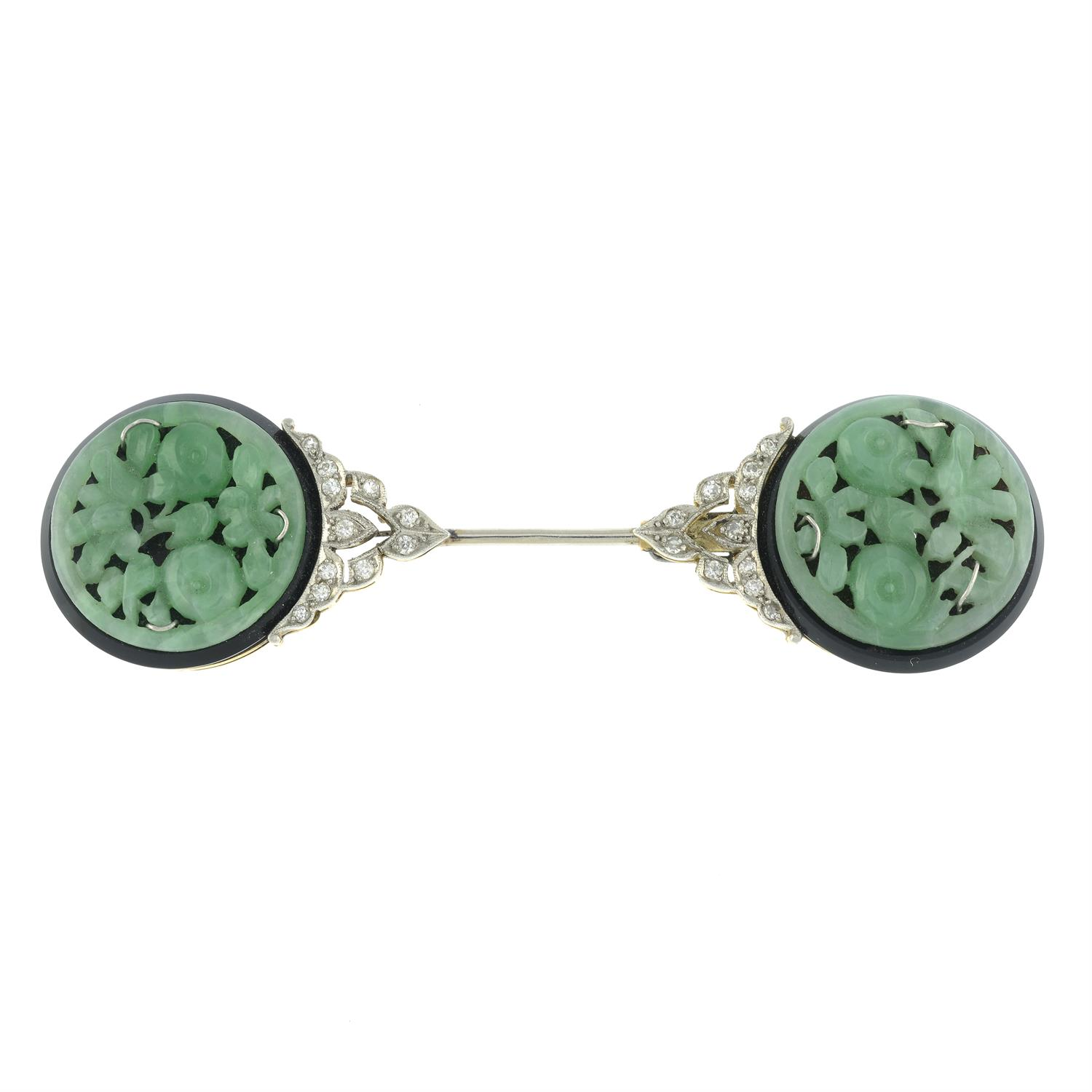 An Art Deco platinum and 15ct gold, carved jade, onyx and single-cut diamond jabot pin. - Image 2 of 4