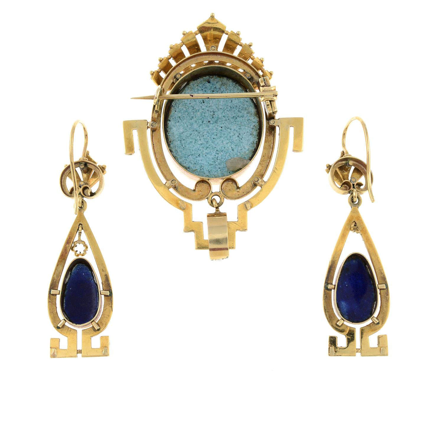 A late 19th century gold, enamel portrait and split pearl brooch, with matching earrings. - Image 3 of 6