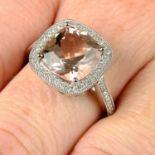 An 18ct gold morganite and brilliant-cut diamond ring.
