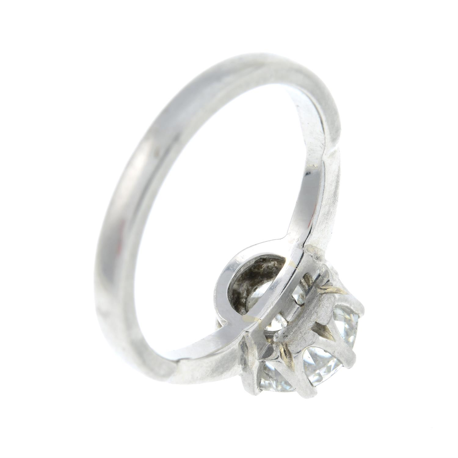 A platinum old-cut diamond single-stone ring, with brilliant-cut diamond line shoulders. - Image 5 of 6