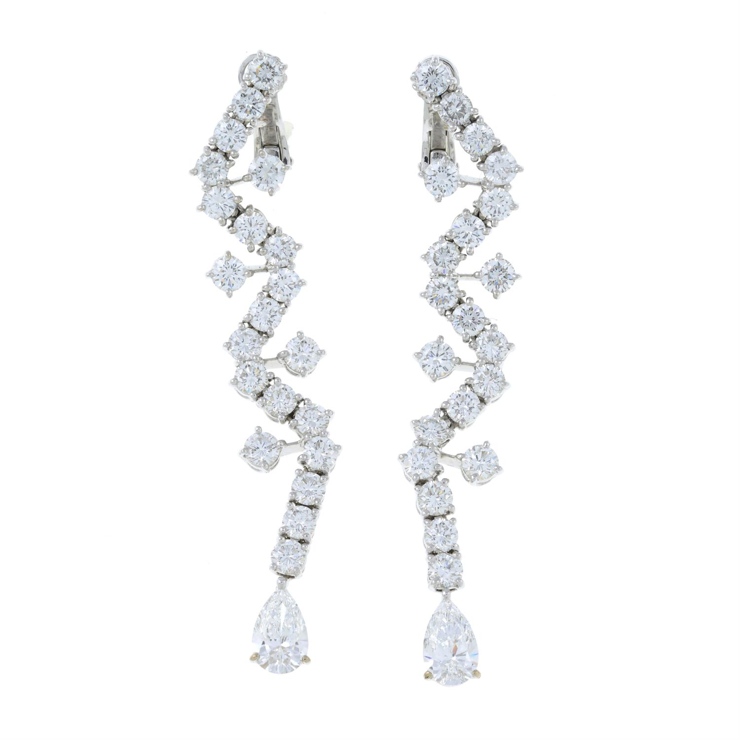 A pair of 18ct gold brilliant-cut diamond earrings, with pear-shape diamond terminals, - Image 2 of 6
