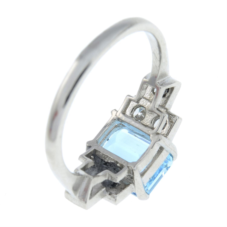 An aquamarine and brilliant-cut diamond dress ring. - Image 5 of 6